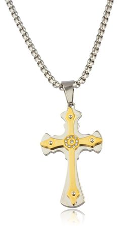 Large Stainless Steel Two-tone Ancient Double Cross Pendant with Centered Stones and a 24 Inch Round Box Chain Necklace