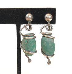 Vintage Turquoise Sterling Silver Dangle Earrings Modernist