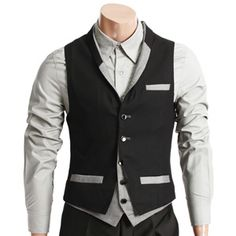 Mens Layered design Button up Vest (AV9-GRAY) Sharp Dressed Man ed2446d687a