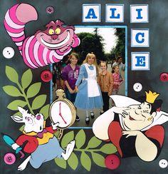 Alice in Wonderland scrapbook page using Disney Classics cricut cartridge.