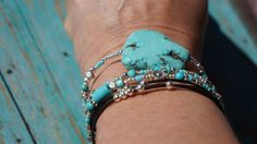 Boho  Addiction to Turquoise  Leather Stacking by fleurdesignz, $25.00