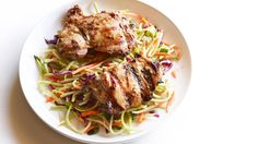 Grilled Thai Chicken Thighs with Spicy Broccoli Slaw | Easy and delicious reasons to get out the grill now