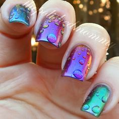from The Polished Mommy: Rain at Sunset - water drop mani