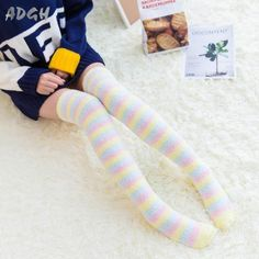 Every kawaii cutie needs a fabulous pair of fuzzy soft thigh high stockings that. - Every kawaii cutie needs a fabulous pair of fuzzy soft thigh high stockings that go over the knee! Ddlg Outfits, Cute Outfits, Thigh High Socks, Thigh Highs, Kawaii Fashion, Cute Fashion, Emo Fashion, Space Outfit, Cute Stockings