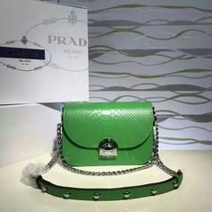 2016 Cheap Prada Arcade Snakeskin Leather Shoulder Bag 1BD030 in Green