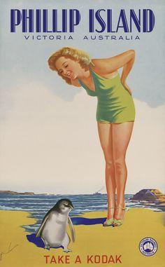 Vintage Travel Poster - Phillip Island, Victoria