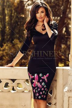StarShinerS Brodata Flamingo Black Dress Colourful Outfits, Trendy Outfits, Baptism Dress, Floral Print Skirt, Embroidered Clothes, Autumn Style, Ethnic Style, Dress Cuts, Online Fashion Stores