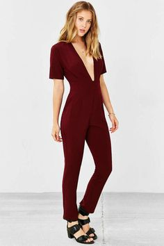 2b6b5f335c6d Silence and Noise Plunging Deep V Short Sleeve Jumpsuit in Wine