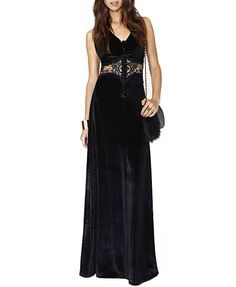 Black Hollow Out Velvet  Dress