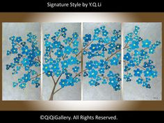 Original Contemporary Fine art Landscape Tree Painting Heavy Texture Impasto Metallic Silver Palette Knife Silver Blossoms BY QIQIGALLERY via Etsy