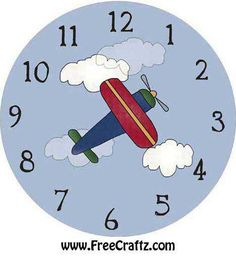 Clock Face with Airplane