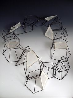 "Architectural Necklace - 3D wire frame structures; contemporary jewellery design // Sarah West, ""Infastructure"""