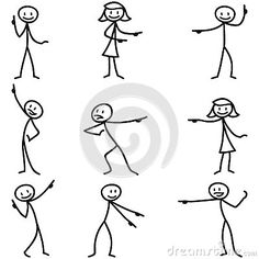 Stickman stick figure pointing showing directions