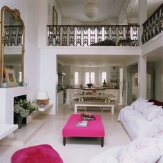 Similar idea of the open balcony living room theme.  (no hot pink please)
