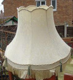 Vintage lampshade lightshade cream floral scalloped edge with details about large ivory damask vintage downton tassels fringe standard lampshade aloadofball Choice Image