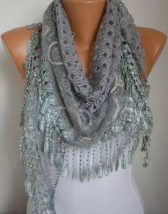 ON SALE  Gray Lace Scarf   scarf shawl   fatwoman by anils on Etsy, $17.91