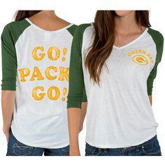 Women's Green Bay Packers Junk Food White Victory Tri-Blend V-Neck Three-Quarter Sleeve T-Shirt