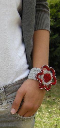 http://www.etsy.com/shop/SibelDesign?ref=si_shop  #accessories #cuff #women #gray #red #crochet #handmade #gift                                                                                         $15