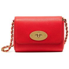 Mulberry Mini Lily ($440) ❤ liked on Polyvore featuring bags, handbags, shoulder bags, fiery red, red handbags, mulberry shoulder bag, mini shoulder bag, mini purse and chain handle handbags
