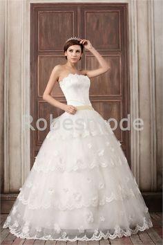Robe de mariée princesse en gaze/satin sans bretelles plein longueur