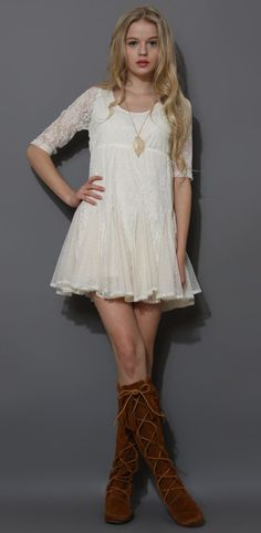 Dolly Full Lace Dress with Pieced Flare Hem