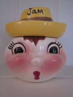 1956 Jam Jar DeForest of California Hand Painted Pottery Nice Gift for a Collector or a Kitchenware Lover.