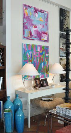 Danny Geschardt and Leslie Milsten abstract original art at Mecox Palm Beach #interiordesign #home #decor #design #summer