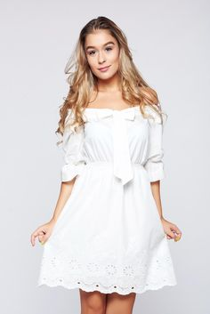 Rochie LaDonna casual alba cu croi larg cu elastic in talie Summer Time, White Dress, Seasons, Collection, Holiday, Dresses, Fashion, Vestidos, Moda