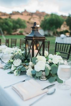 wedding table decor ideas, wedding lanterns inspiration, chic and fabulous wedding flowers ideas Summer Wedding Centerpieces, Lantern Centerpiece Wedding, Wedding Lanterns, Wedding Table Centerpieces, Wedding Flower Arrangements, Centerpiece Ideas, Greenery Centerpiece, Hurricane Centerpiece, Wedding Centerpieces With Lanterns