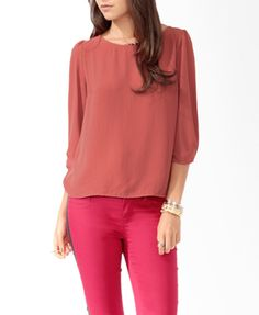 Textured 3/4 Sleeve Blouse   FOREVER21 - 2017306205