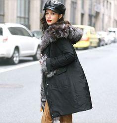 High-Quality-Womens-Hooded-Real-Fur-Collar-Parka-Black-XL-Down-Coat-Fur-Cuff