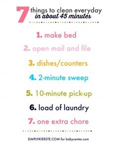 Clean your house in 45 minutes a day | simplykierste.com for babycenter