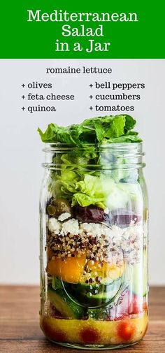 Mediterranean Salad In A Jar - pack this for lunch or dinner for a healthy and delicious on-the-go meal!