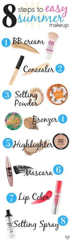 Summer is perfect for easy makeup! You can achieve a fresh and affordable look in just 8 steps. These products will keep your look in place all day!