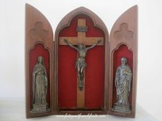 Antique French Travelling Altar Shrine Crucifix Mary Joseph Jesus Wood Case www.fatiguedfrenchfinds.com