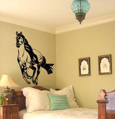 Horse decal-mustang-horse sticker-horse vinyl wall decor-Big 28 X 38 inch sticker. $37.00, via Etsy.