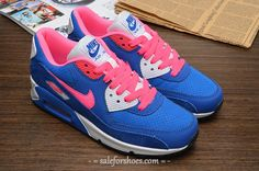 Womens Nike Air Max 90 Blue Pink White Shoe