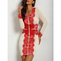 Apricot Antique Long Sleeve V Neck Embroidered Dress ($11) ❤ liked on Polyvore featuring dresses, multicolor, antique dress, knee-length dresses, v-neck dresses, stretch dress and knee length sheath dress