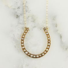 14k Gold Seed Pearl Horseshoe Pendant On Fine Gold Chain | Hoard Jewelry