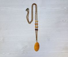 Yellow Jade Pendant Long Necklace Layering Necklace Gemstone Jewelry Handmade Jewelry