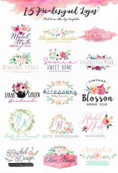 Baby Names Discover DIY pack Set/Wedding/Clip art Pre-designed logos/Individual PNG files/Hand Painted Watercolor Logo, Watercolor Flowers, Wedding Clip, Flower Clipart, Handmade Design, Floral Bouquets, Box Design, Logo Inspiration, Hand Lettering