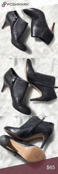 Vince Camuto leather heeled booties size 7.5 Vince Camuto genuine leather heeled black ankle booties. Size 7.5. Excellent condition, worn once!! Very minor wear on soles. Leather and heels in excellent condition, no scratches!! Side sip closure. Closed pointed toe. Vince Camuto Shoes Ankle Boots & Booties