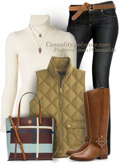 tory burch riding boots turtleneck sweater and vest fall outfit bmodish Street Style Outfits, Mode Outfits, Casual Outfits, Fashion Outfits, Womens Fashion, Fashion 2017, Fashion Boots, Fashion Trends, Riding Boot Outfits
