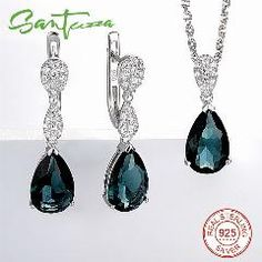 [ 25% OFF ] Jewelry Sets For Women Blue Crystal Cz Diamond Jewelry Set Drop Earring Pendant Necklace 925 Sterling Silver Fashion Jewelry Set