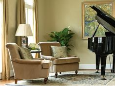 Refined Living Room Chairs And Piano