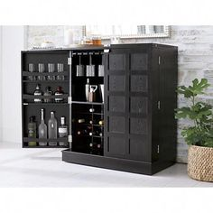 Serve your guests in style with a bar cabinet from Crate and Barrel. Bar carts and cabinets free up valuable space and are a beautiful addition to any room. Bar Furniture For Sale, Home Bar Furniture, Furniture Ideas, Furniture Market, Home Bar Cabinet, Drinks Cabinet, Black Bar Cabinet, Home Bar Decor, Bar Cart Decor