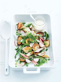 potato, pea and ham salad sounds so good and a unique dish. I may cut back on the vinegar