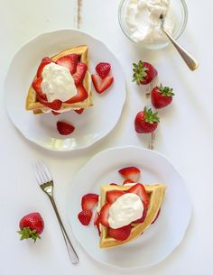 Strawberry Shortcake Waffles from @Well_Plated are the perfect breakfast for this weekend. So easy to make and absolutely divine!