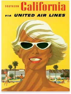 Fly California Wall Art. This vintage travel poster by artist Stan Galli brings back the glamor of the golden age of 1950s travel. A windswept, tan California girl smiles against a sunny yellow sky. https://api.shopstyle.com/action/apiVisitRetailer?id=437336924&pid=uid8100-34415590-43