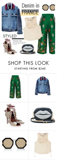"""How to Style a Denim Jacket for France in the Fall"" by outfitsfortravel ❤ liked on Polyvore featuring VIVETTA, Jamie Wei Huang, Malone Souliers, Charlotte Olympia, Karen Walker and TIBI"